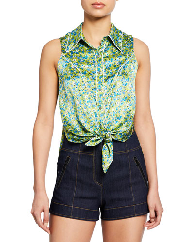 Leon Floral Tie-Front Sleeveless Top