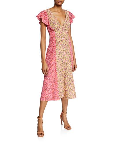 Jessica Colorblock Floral-Print Short-Sleeve Midi Dress