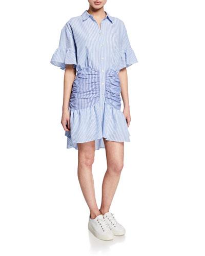 Asher Striped Short-Sleeve Shirt Dress