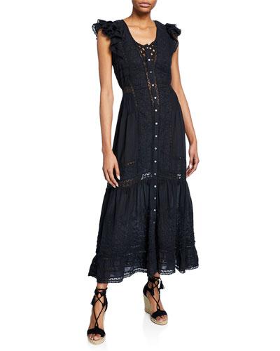 Valentina Embroidered Short-Sleeve Ruffle Dress