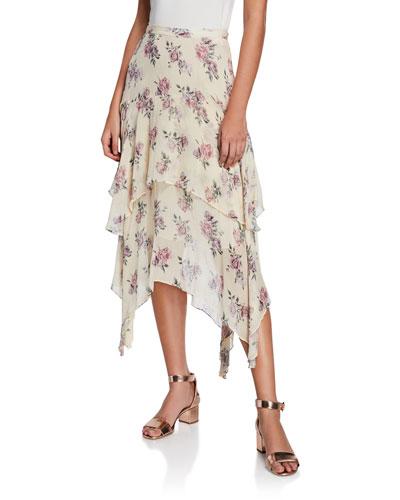 Alex Tiered Silk Floral-Print Midi Skirt