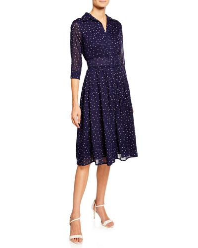 Audrey 2 Musola Mini Star-Print Button-Down 3/4-Sleeve Shirtdress
