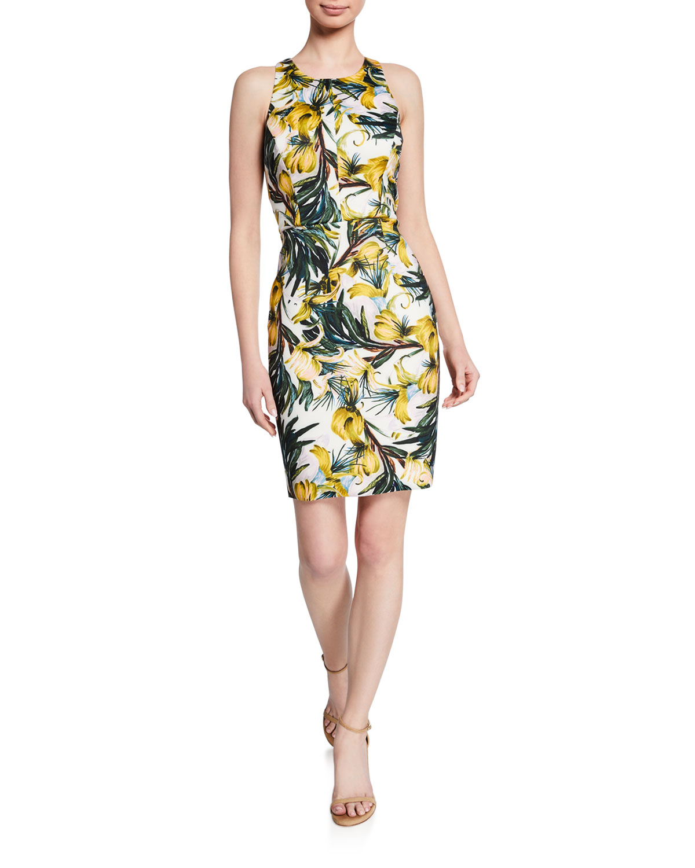 Milly Dresses FLORAL-PRINT RACERBACK SHEATH DRESS