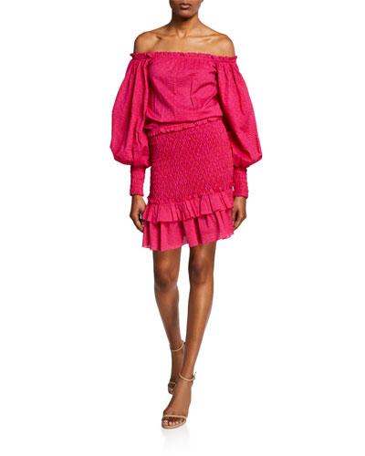 Marilena Smocked Off-Shoulder Blouson-Sleeve Dress d0fc64517