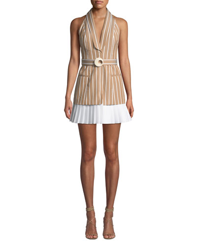 Carmona Striped Belted Short Dress