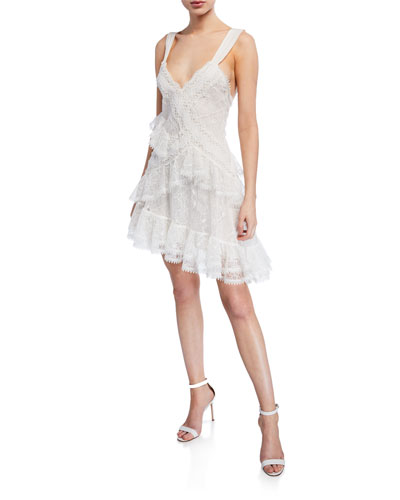 Ladonna Asymmetrical Lace Mini Dress