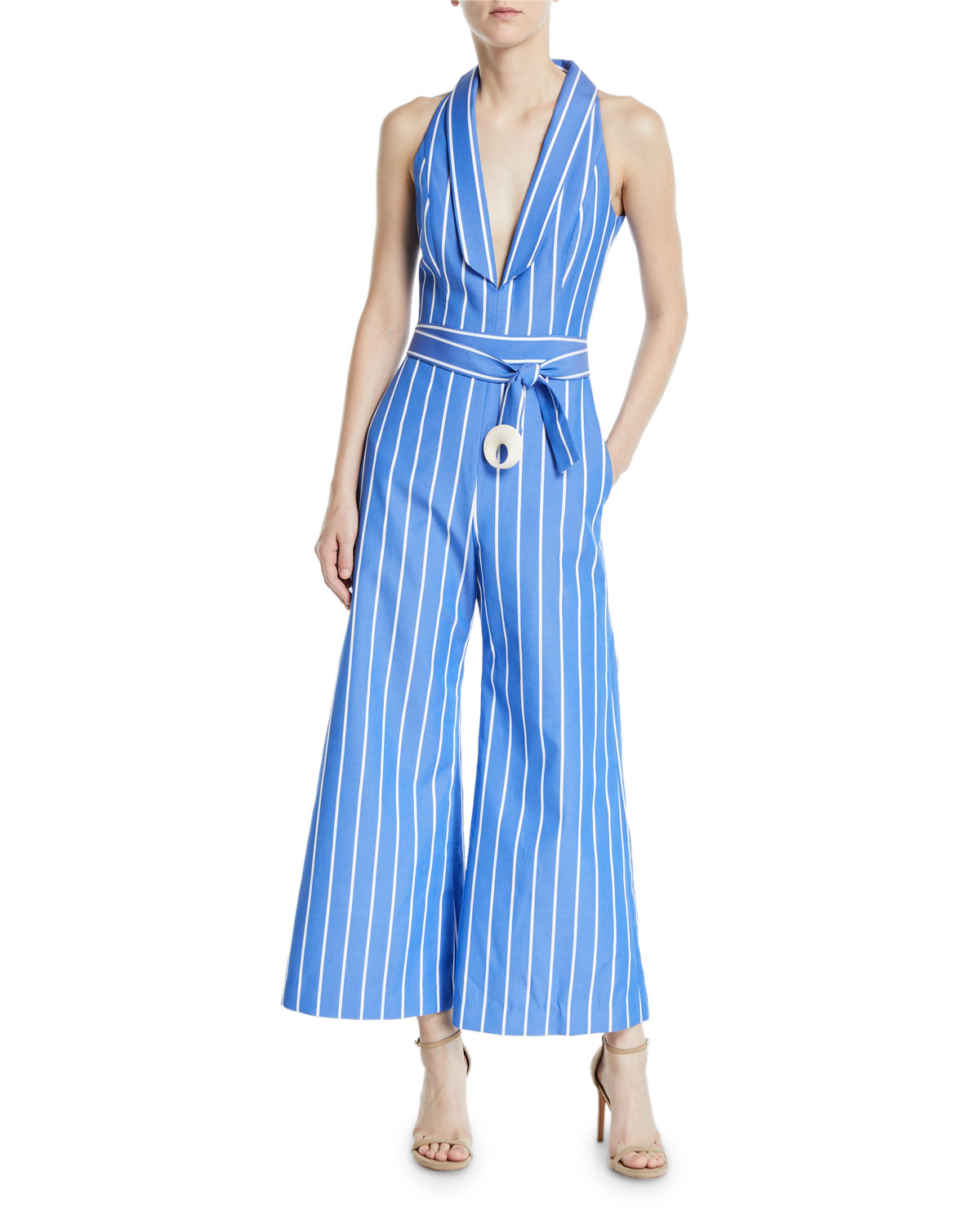 Alexis Suits ECKHART STRIPED SLEEVELESS WIDE-LEG JUMPSUIT