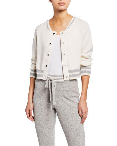 Lupi Cropped Bomber Jacket with Lace-Up Detailing