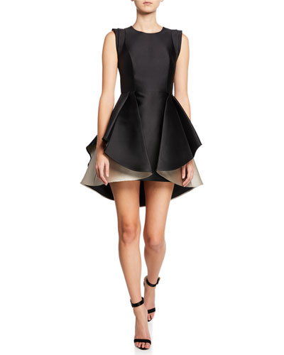 Structured Cap-Sleeve Satin Twill Dress with Dramatic Skirt