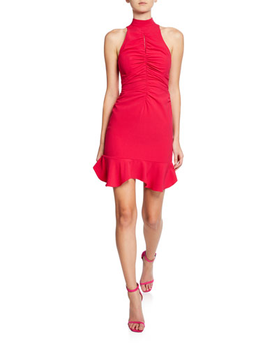 Sleeveless Mock-Neck Cocktail Dress with Ruched Keyhole