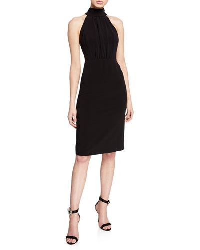 Mock-Neck Sleeveless Strappy-Back Dress