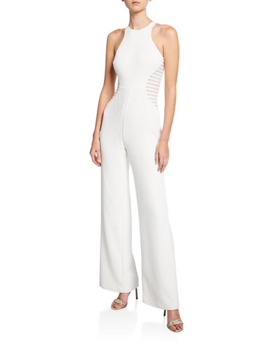 Sleeveless Wide-Leg Crepe Jumpsuit with Stripe Applique Detail