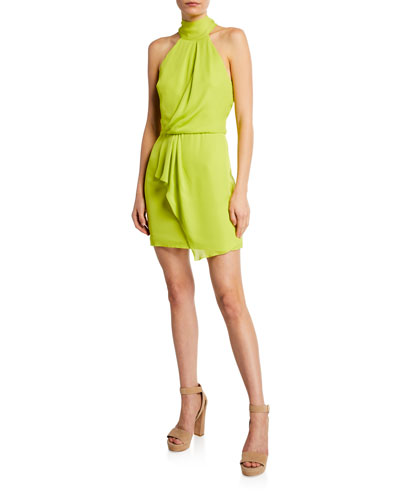 ed8328b6992 Turtleneck Sleeveless Mini Dress with Drape Front Detail Quick Look. Halston  Heritage