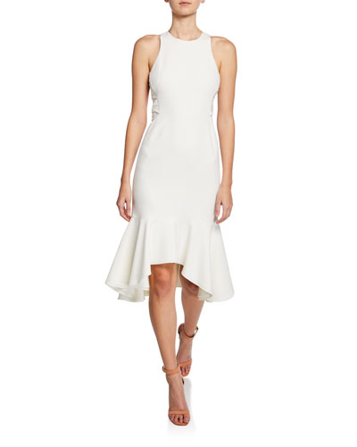 Sleeveless Flounce-Hem Dress with Twist Detail