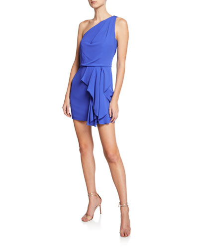 5a2b0104d621 One-Shoulder Drape-Front Mini Dress Quick Look. Halston Heritage