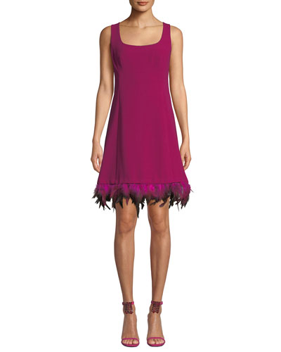 Provocative Sleeveless Dress with Dyed Feather Hem