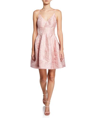 V-Neck Textured Floral Jacquard Tulip-Skirt Dress