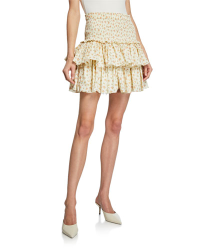 Asia Floral-Print Smocked Ruffle Mini Skirt