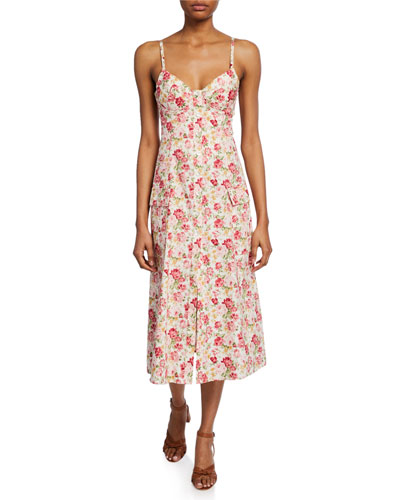 Lexie Floral-Print Sweetheart Button-Front Dress