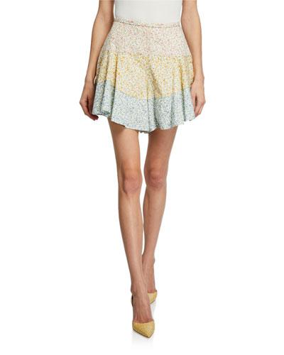 Amory Colorblock Floral-Print Shorts