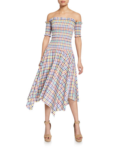 Jackie Plaid Off-the-Shoulder Smocked Shark Bite Hem Dress