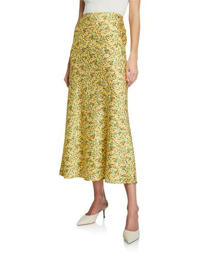 Bianca Floral Satin Midi Skirt