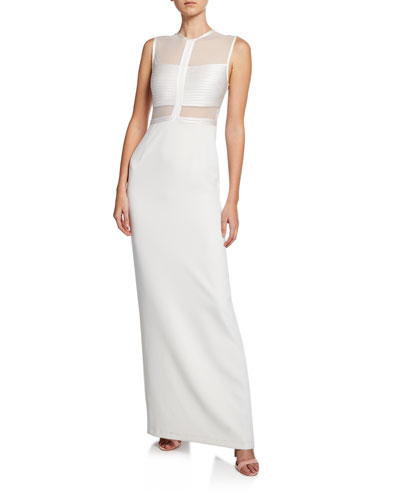 Sleeveless High-Neck Gown with Strip Detail