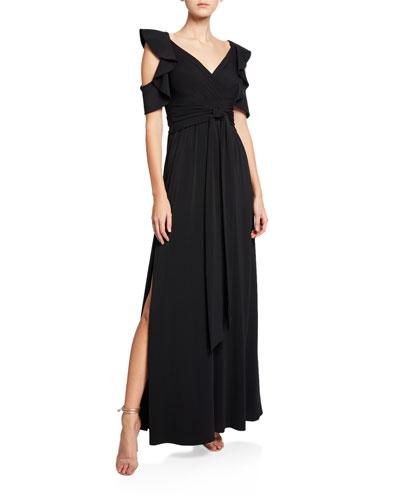 Flutter-Sleeve Cold-Shoulder V-Neck Jersey Gown