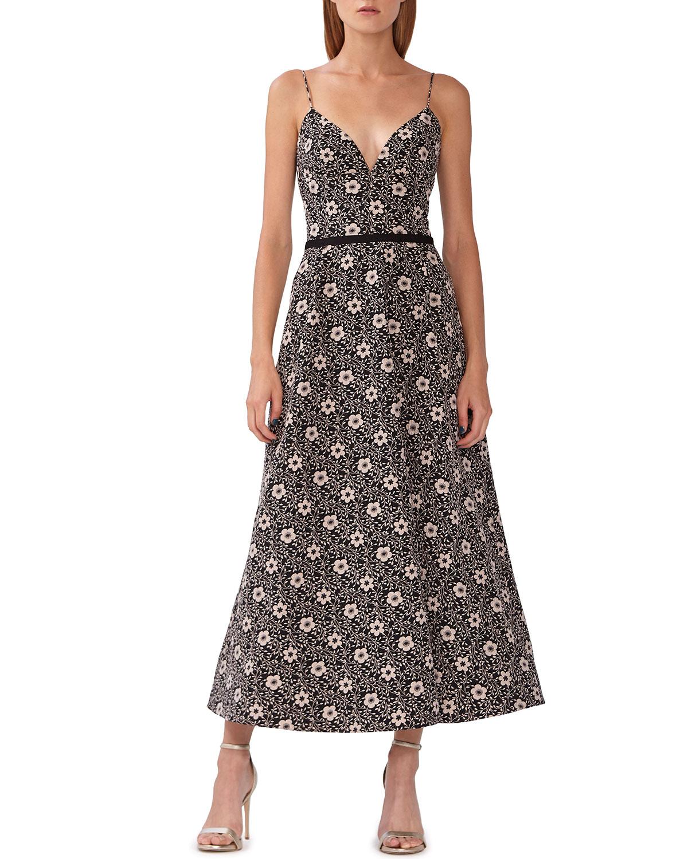 Ml Monique Lhuillier Dresses FLORAL JACQUARD MIDI DRESS