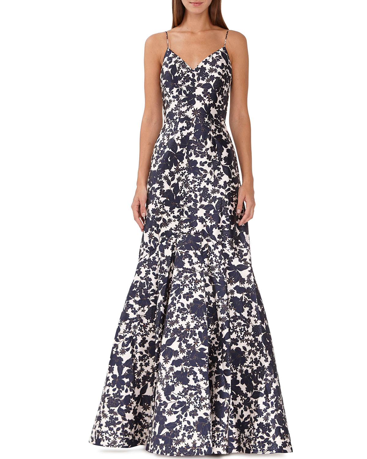 Ml Monique Lhuillier Tops Floral Silhouette Mikado Gown, NAVY COMBO