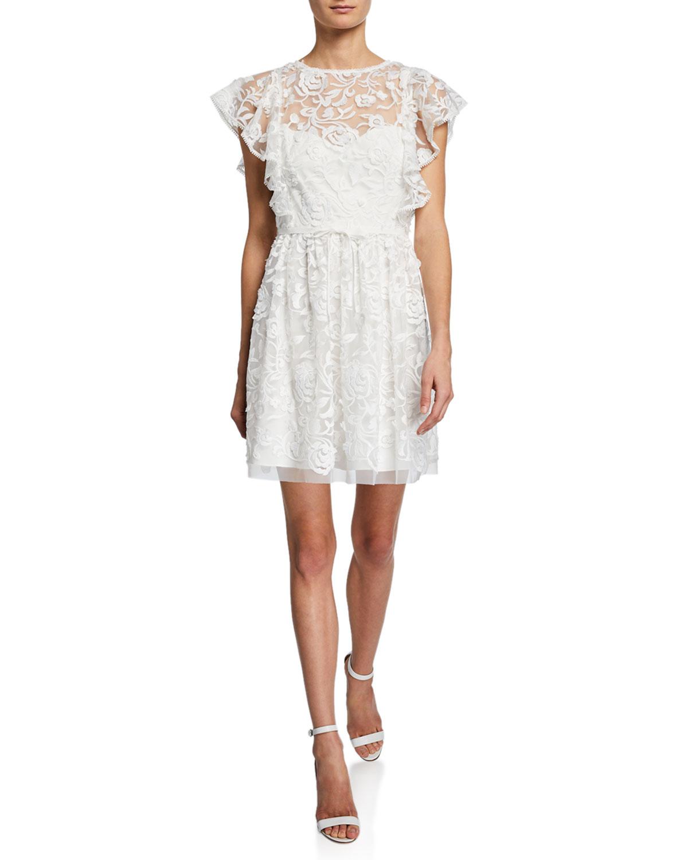 Ml Monique Lhuillier Dresses LACE ILLUSION FLUTTER-SLEEVE DRESS