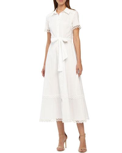 Lace-Trim Button-Front Tie-Waist Dress