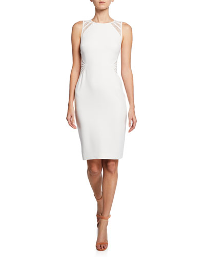 Sleeveless Crepe Dress with Lace Strip Detail