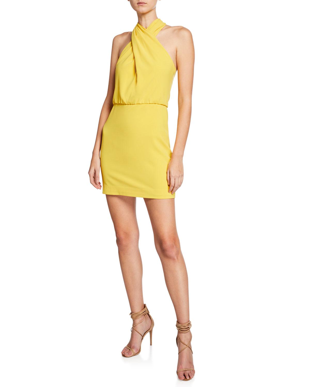Halston Dresses SLEEVELESS WRAP-NECK FITTED DRESS