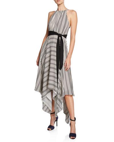 Striped Halter Handkerchief Dress w/ Strappy Back