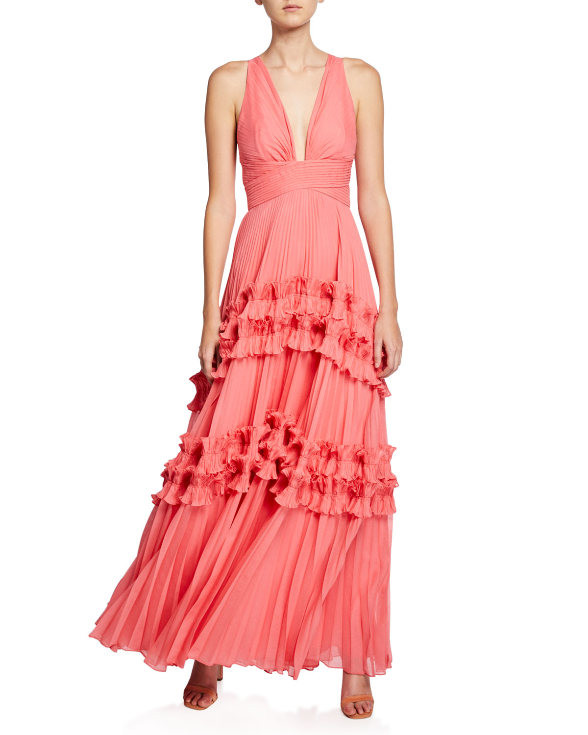 Halston Heritage Tops V-NECK SLEEVELESS PLEATED GOWN WITH SMOCKED RUFFLE TRIM
