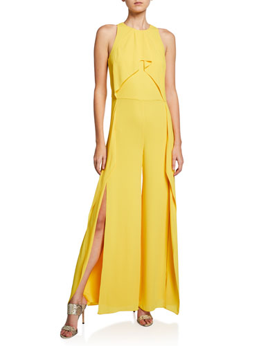 Sleeveless High-Neck Flowy Drape Front Wide-Leg Jumpsuit