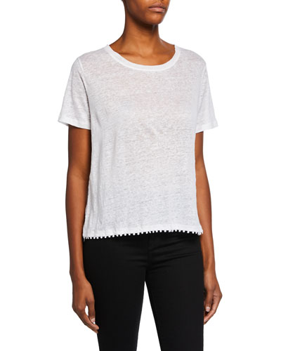 Scoop-Neck Short-Sleeve Boxy Linen T-Shirt