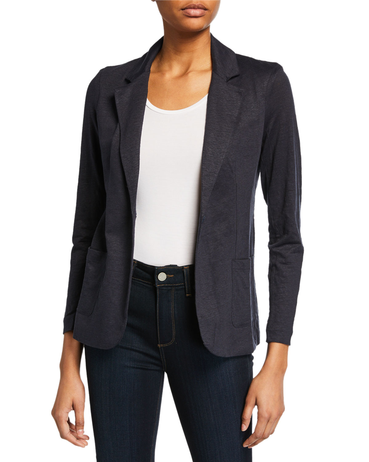 Majestic Blazers STRETCH-LINEN ONE-BUTTON BLAZER