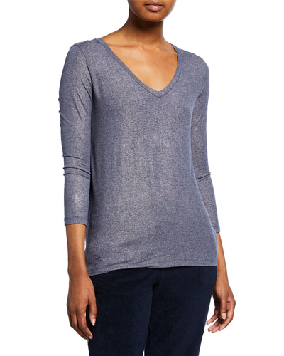Extra-Fine Metallic V-Neck 3/4-Sleeve Top w/ Inverted Back Pleat