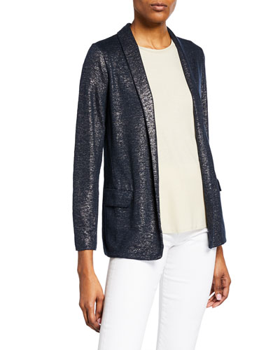 Metallic Open-Front Long-Sleeve Blazer