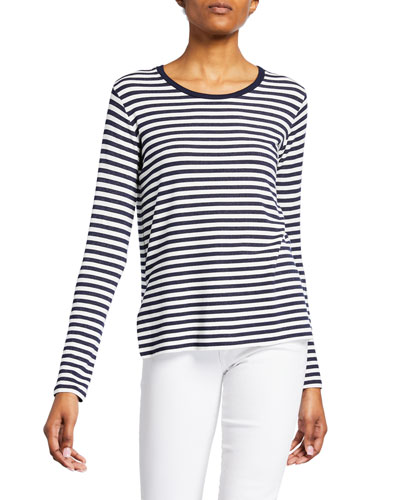 Striped French Terry Crewneck Long-Sleeve Top w/ Side Slits