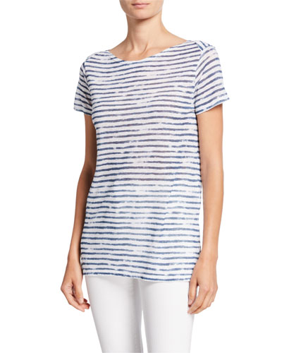 Striped Boat-Neck Short-Sleeve Linen Top