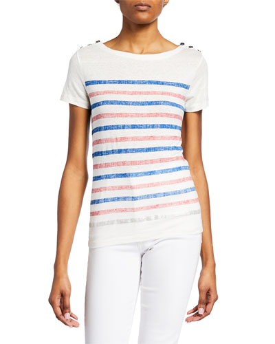 Striped Boat-Neck Short-Sleeve Tee with Button Shoulders