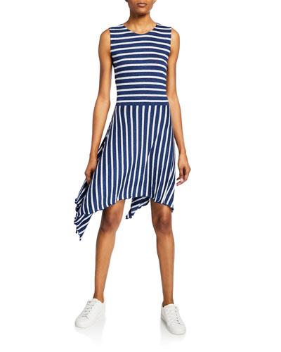 Striped Crewneck Sleeveless A-Line Dress
