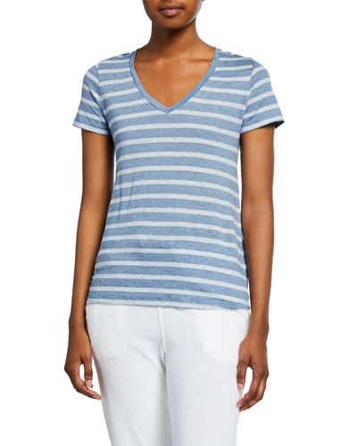 Striped V-Neck Short-Sleeve Stretch-Linen Tee