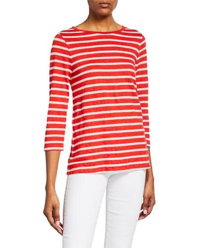 Striped Boat-Neck 3/4-Sleeve Boxy Top