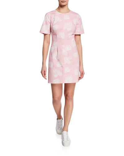 Phoenix Madison Leaf-Print Short-Sleeve Mini Dress