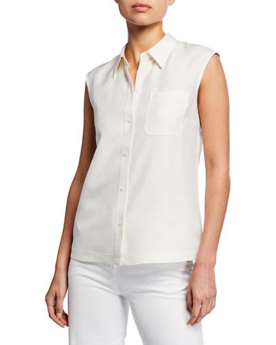 Yani Sleeveless Button-Front Blouse