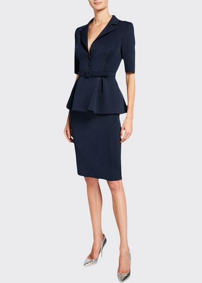 Elbow-Sleeve Retro Peplum Coat Dress